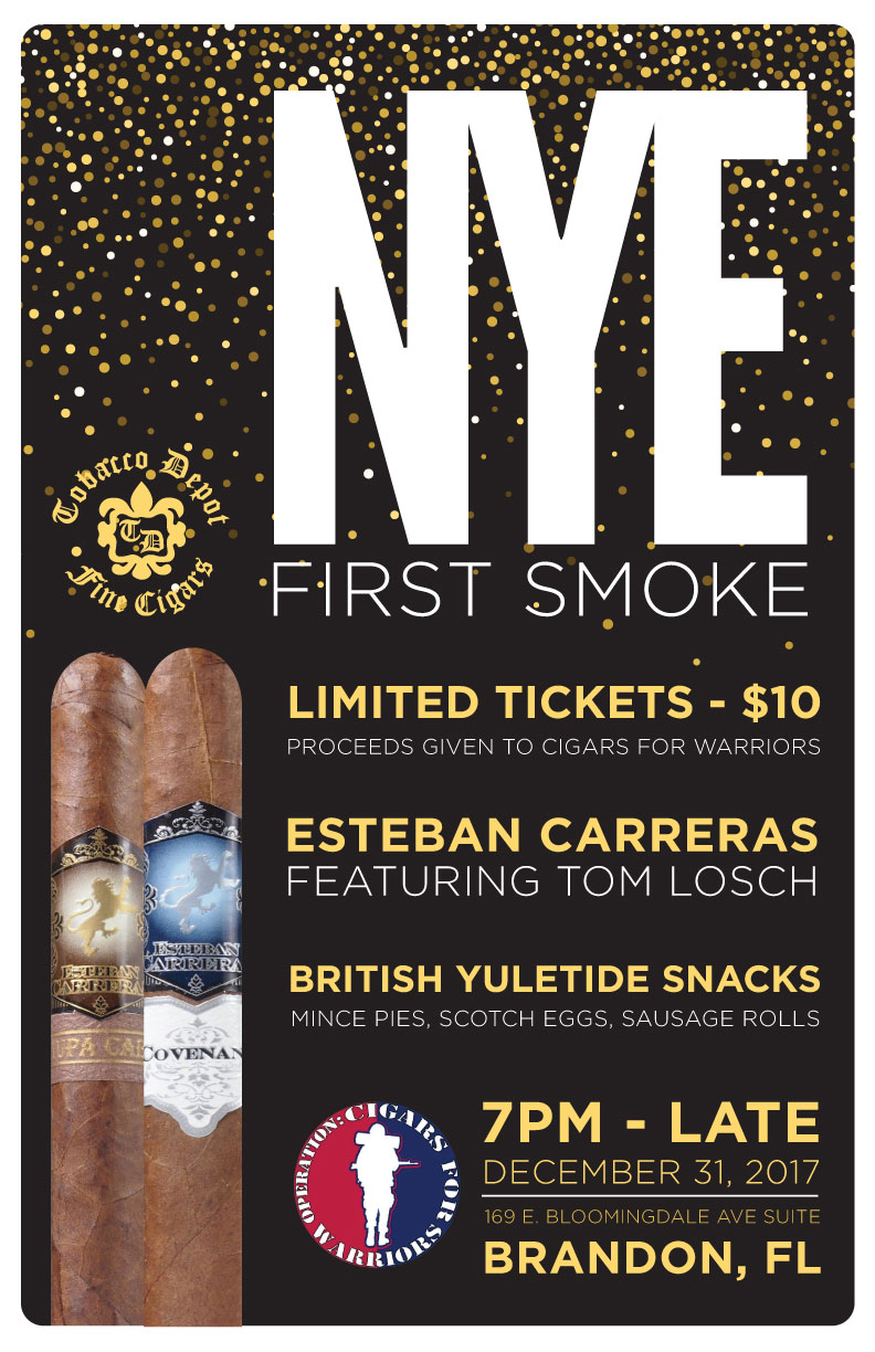 NYE First Smoke in Brandon: Esteban Carreras & Cigars For Warriors