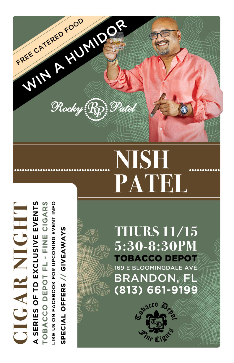 Rocky Patel Cigar Night in Brandon featuring Nish Patel