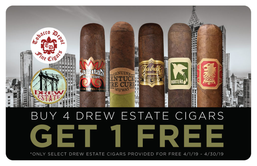Cigar Deal of The Month April: Buy 4 Drew Estate Cigars, Get One Free!