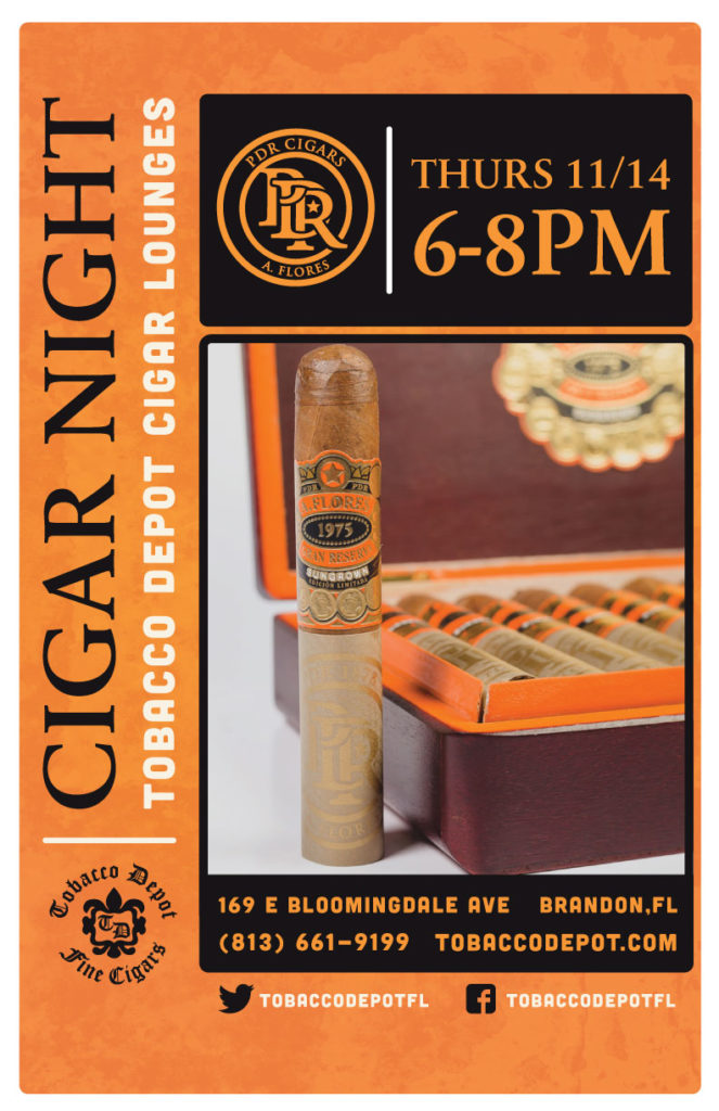 PDR Cigar Night – 11/14 from 6PM-8PM at Brandon TD