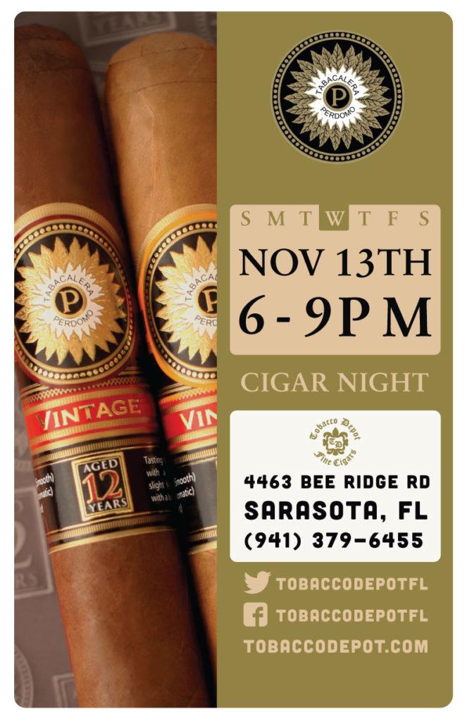 Perdomo Cigars in Sarasota – 11/13 6pm-9pm