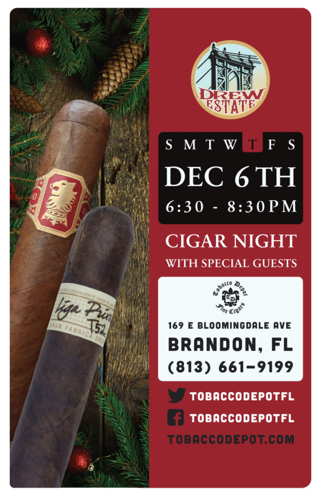 Drew Estate Cigar Night – 12/6 from 6:30PM-8:30PM at Brandon TD