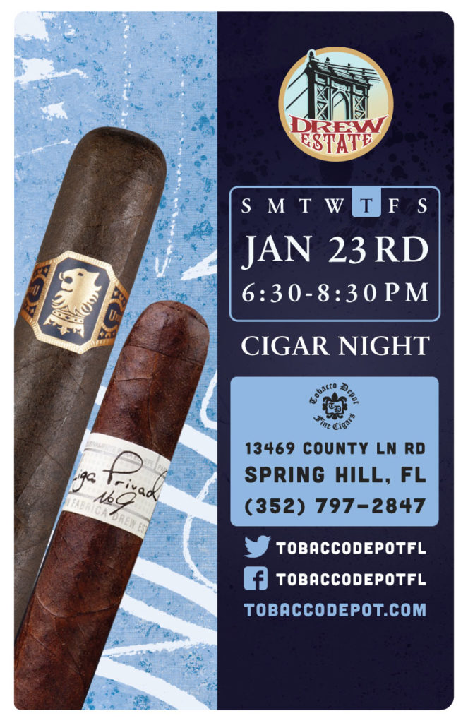 Drew Estate Cigar Night – 1/23 from 6:30PM-8:30PM at Spring Hill