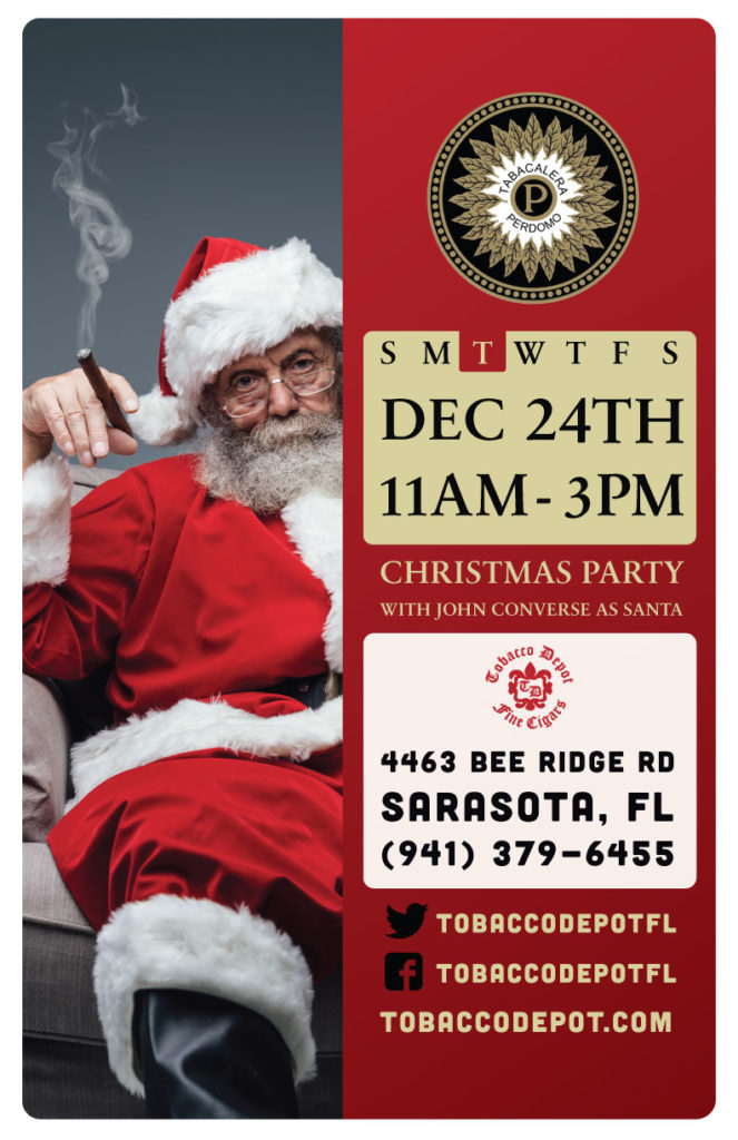 Christmas Party in Sarasota featuring John Converse as Santa & Perdomo Cigars  // Tues 12/24 11am-3pm