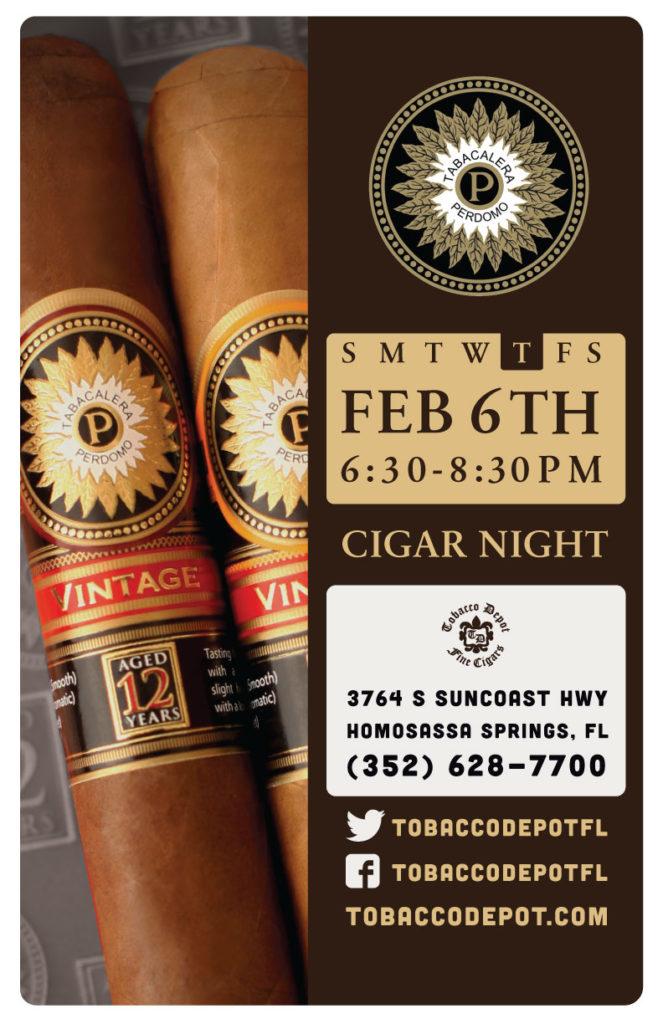 Perdomo Cigar Night – Thurs 2/6 from 6:30-8:30pm in Homosassa Springs