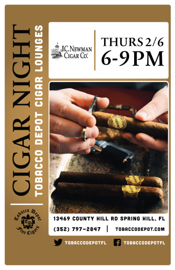JC Newman Cigar Night – 2/6 from 6:00PM-9:00PM at Spring Hill