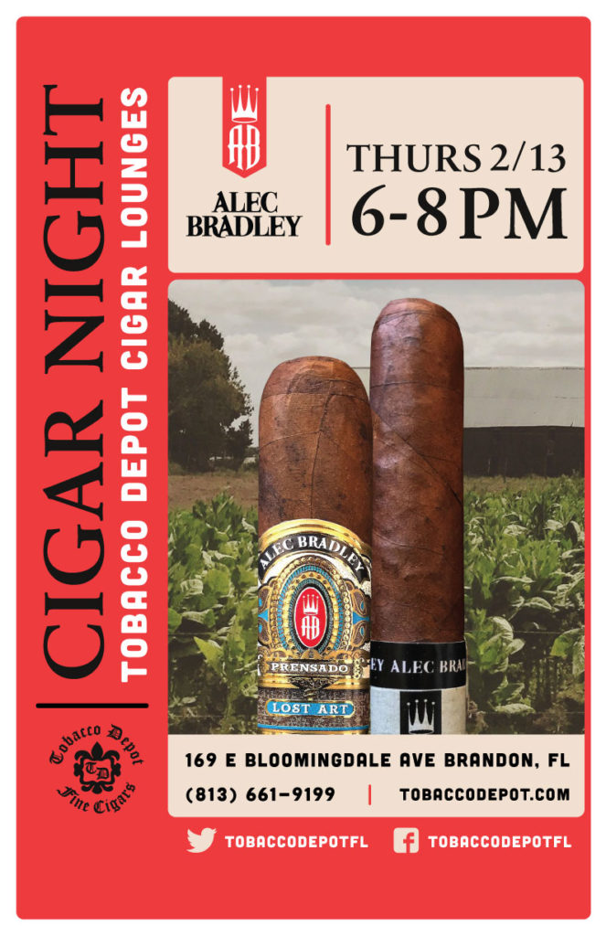 Alec Bradley Cigar Night – Thurs 2/13 from 6:00-8:00pm in Brandon, FL