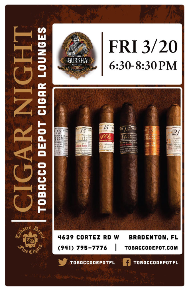 Gurkha Cigar Night – Fri 2/20 from 6:30-8:30pm in Bradenton, FL