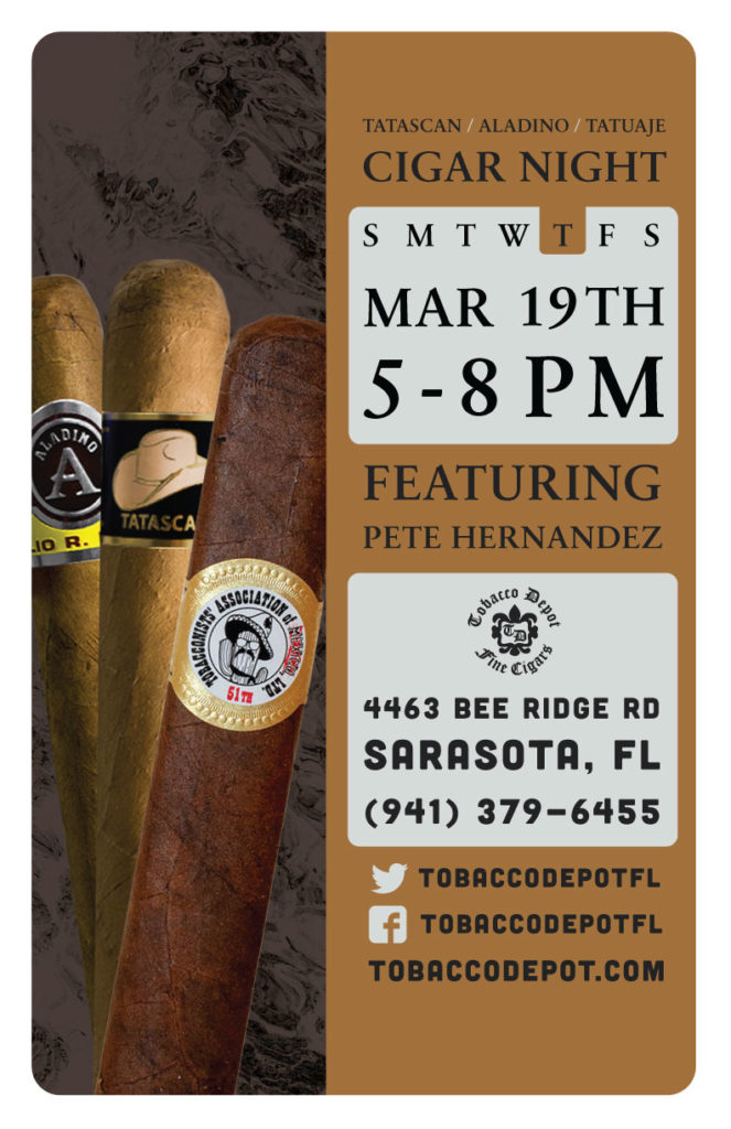 Cigar Night – Thurs 3/19 from 5:00PM-8:00PM in Sarasota, FL