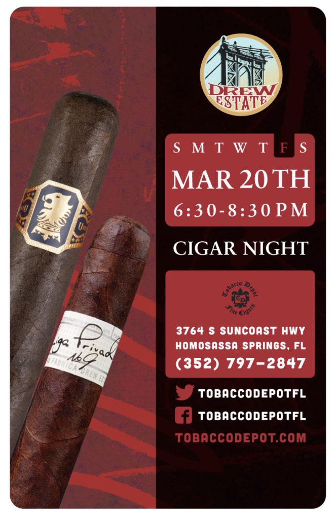Drew Estate Cigar Night – Fri 3/20 from 6:30PM-8:30PM in Homosassa Springs, FL