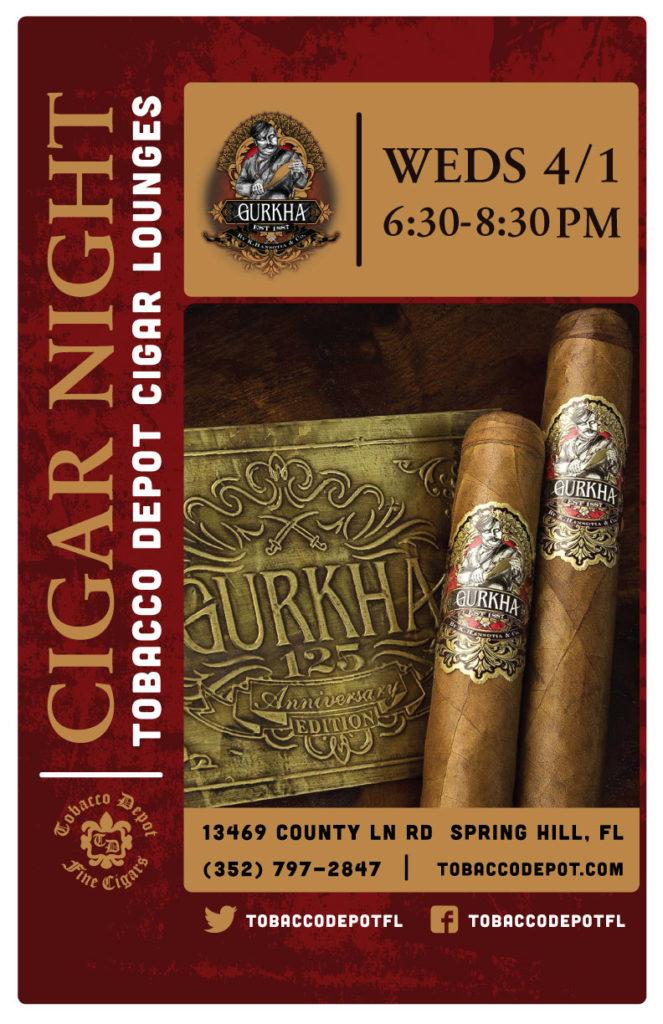 Gurkha Cigar Night – 4/1 from 6:30PM-8:30PM at Spring Hill