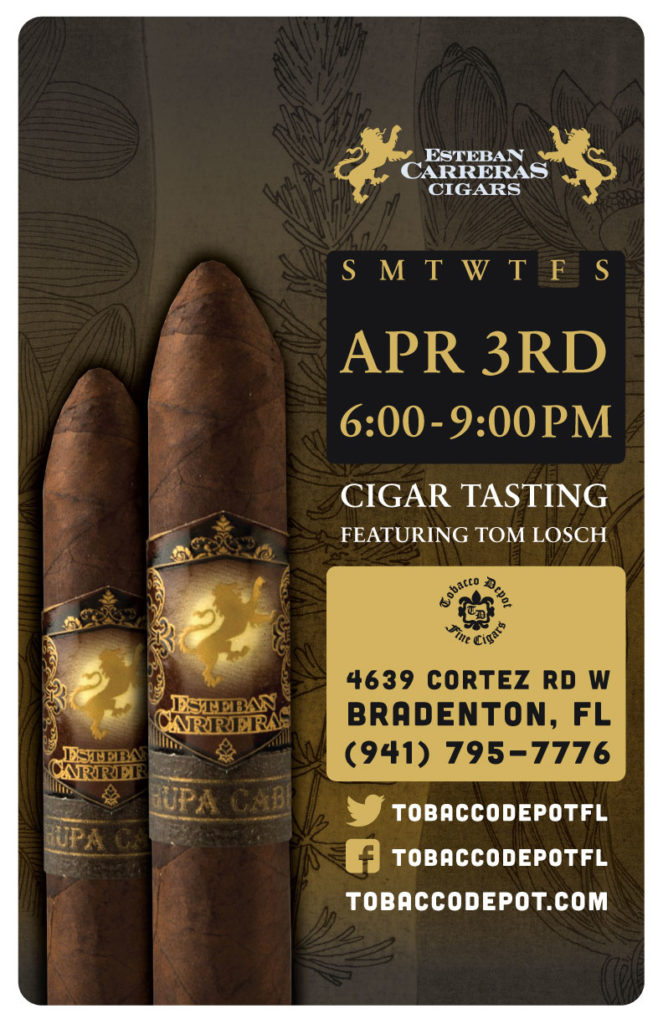 Esteban Carreras Cigar Night – Thurs 4/2 from 6:00-8:30pm in Bradenton, FL