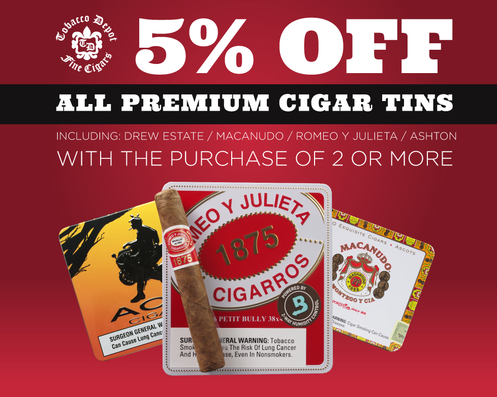 5% Off Premium Cigar Tins