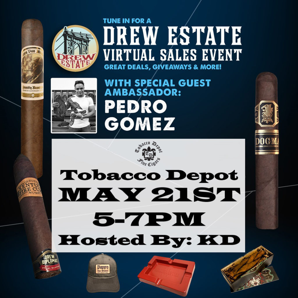 Tobacco Depot Exclusive 🔥 Drew Estate Digital Herf – Thurs 5/21 from 5:00-7:00pm on Zoom