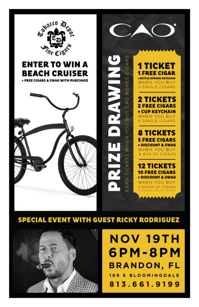 Win A Beach Cruiser & CAO Cigars Starting November 1st TD Brandon