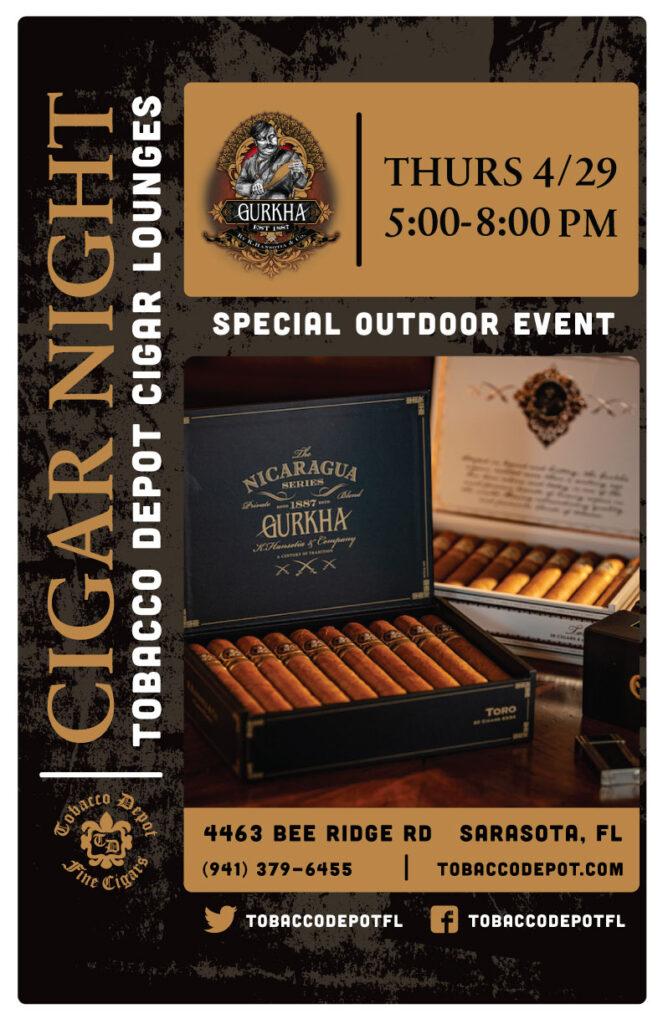 Gurkha Outdoors Cigar Night – Thursday 4/29 from 5:00-8:00pm in Sarasota, FL