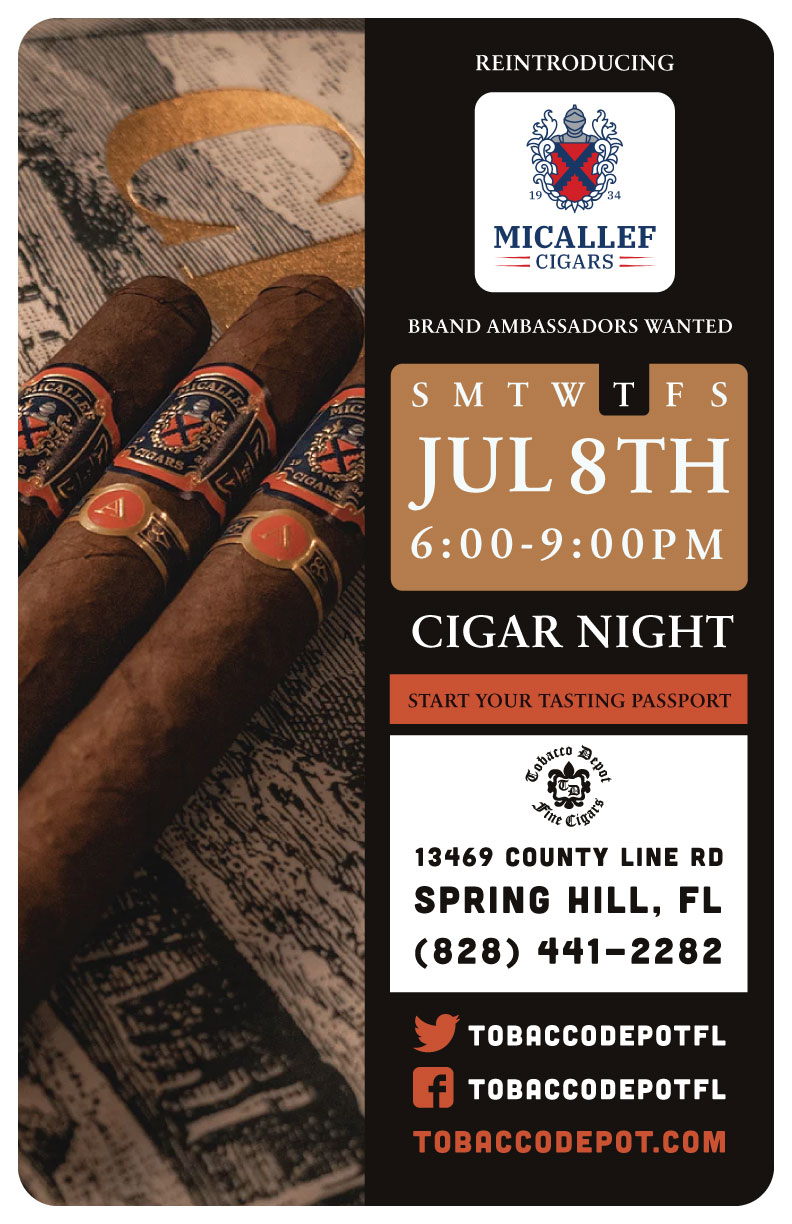 Micallef Cigar Night – 7/8 from 6PM-9PM at Spring Hill TD