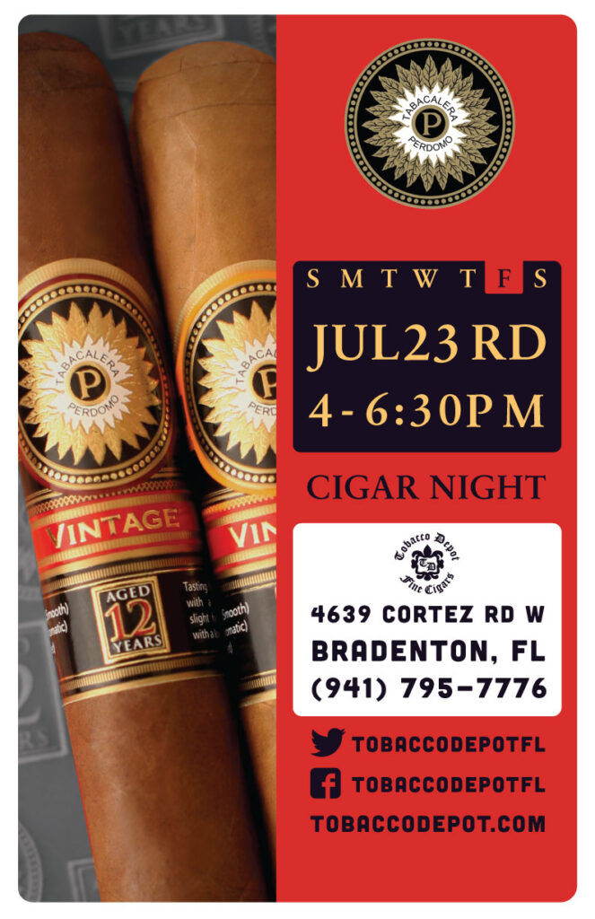 Perdomo Cigar Night – Fri 7/23 from 4:00-6:30pm in Bradenton, FL