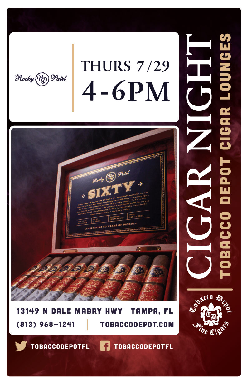 Rocky Patel Cigars in Tampa // Thurs 7/29 4pm-6pm