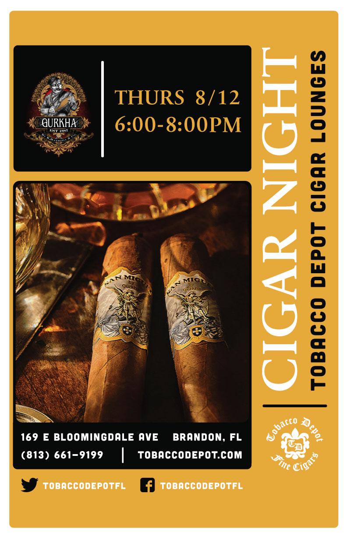 Gurkha Cigar Night in Brandon on 8/12 from 6PM-8PM