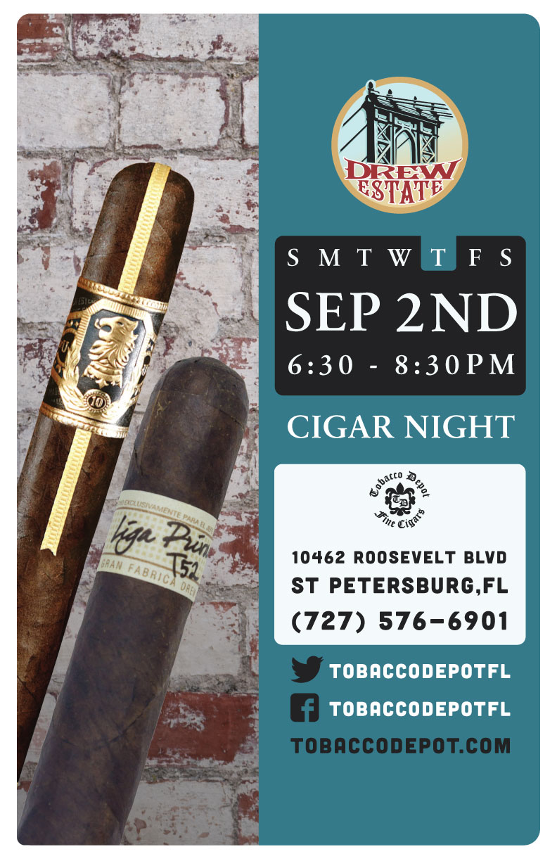 CANCELED 🚫 Drew Estate Cigar Night – 9/2 from 6:30PM-8:30PM at St. Petersburg TD