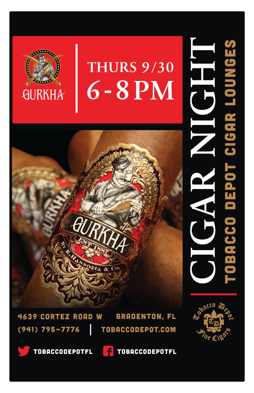 Gurkha Cigar Night – Thurs 9/30 from 6:00-8:00pm in Bradenton, FL